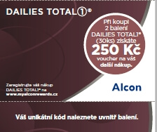 250 Kč voucher k akci Dailies Total1 cashback