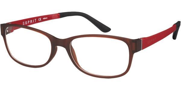 Dioptrické brýle Esprit model 17445, barva obruby hnědá mat, stranice červená mat, kód barevné varianty 535.