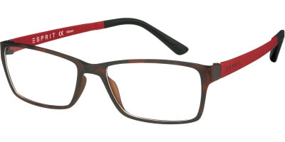Dioptrické brýle Esprit model 17447, barva obruby hnědá mat, stranice červená mat, kód barevné varianty 545.
