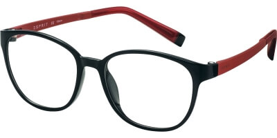 Dioptrické brýle Esprit model 17504, barva obruby černá lesk, stranice červená mat, kód barevné varianty 538.