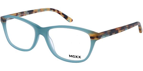 Dioptrické brýle MEXX model 2502, barva obruby tyrkysová mat, stranice hnědá mat, kód barevné varianty 200.