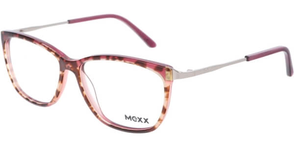 Dioptrické brýle MEXX model 2524, barva obruby červená čirá lesk, stranice stříbrná lesk, kód barevné varianty 100.