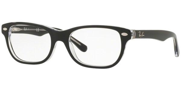 Dioptrické brýle Ray-Ban® model 1555, barva obruby černá čirá lesk, stranice černá čirá lesk, kód barevné varianty 3529.