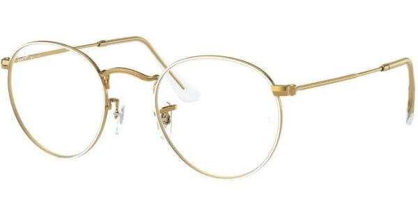 Dioptrické brýle Ray-Ban® model 3447V, barva obruby bílá zlatá lesk, stranice zlatá lesk, kód barevné varianty 3104.
