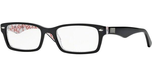 Dioptrické brýle Ray-Ban® model 5206, barva obruby černá bílá lesk, stranice černá bílá lesk, kód barevné varianty 5014.