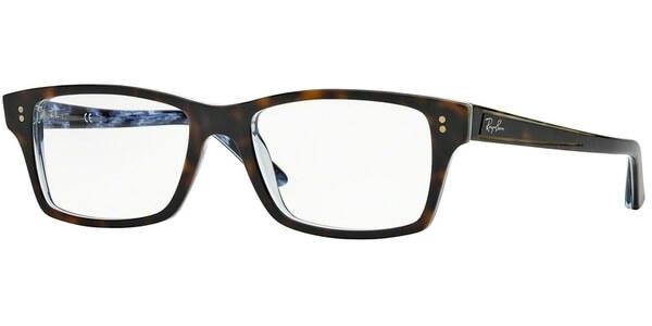 Dioptrické brýle Ray-Ban® model 5225, barva obruby hnědá čirá lesk, stranice hnědá modrá lesk, kód barevné varianty 5023.