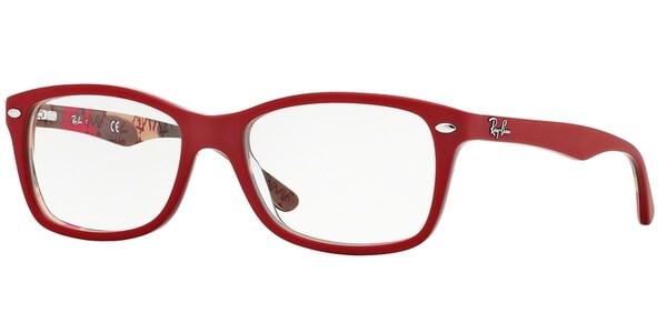 Dioptrické brýle Ray-Ban® model 5228, barva obruby červená mat, stranice červená béžová mat, kód barevné varianty 5406.