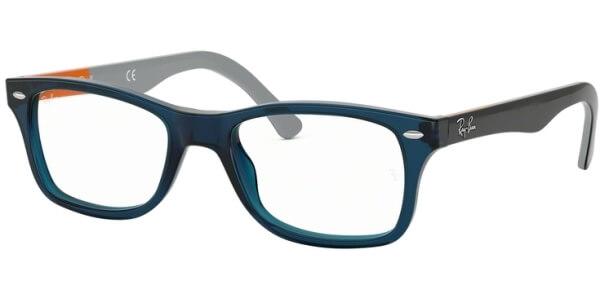 Dioptrické brýle Ray-Ban® model 5228, barva obruby modrá čirá lesk, stranice černá oranžová lesk, kód barevné varianty 5547.