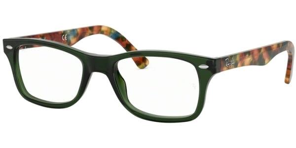 Dioptrické brýle Ray-Ban® model 5228, barva obruby zelená čirá lesk, stranice zelená hnědá lesk, kód barevné varianty 5630.