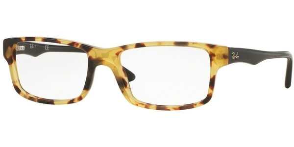 Dioptrické brýle Ray-Ban® model 5245, barva obruby hnědá žlutá lesk, stranice černá lesk, kód barevné varianty 5608.