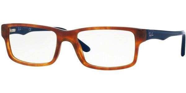 Dioptrické brýle Ray-Ban® model 5245, barva obruby hnědá lesk, stranice modrá lesk, kód barevné varianty 5609.