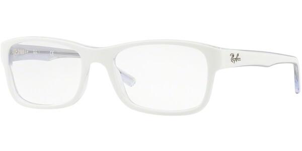 Dioptrické brýle Ray-Ban® model 5268, barva obruby bílá čirá mat, stranice bílá čirá mat, kód barevné varianty 5737.