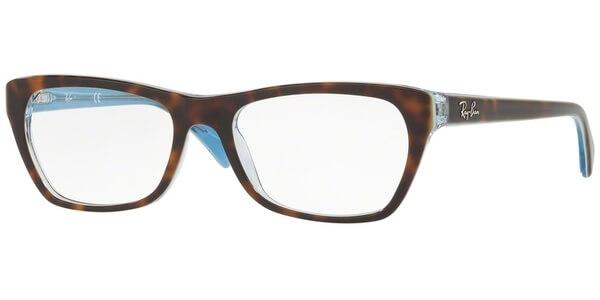 Dioptrické brýle Ray-Ban® model 5298, barva obruby hnědá lesk, stranice hnědá modrá lesk, kód barevné varianty 5023.