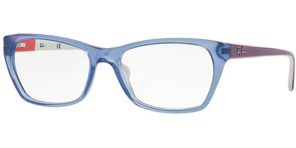 Dioptrické brýle Ray-Ban® model 5298, barva obruby modrá čirá lesk, stranice fialová bílá lesk, kód barevné varianty 5551.