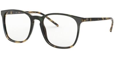Dioptrické brýle Ray-Ban® model 5387, barva obruby zelená hnědá lesk, stranice hnědá žlutá lesk, kód barevné varianty 5873.