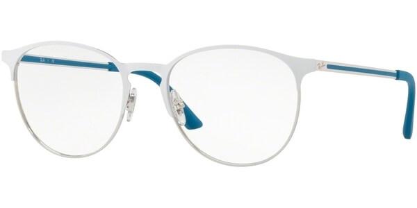 Dioptrické brýle Ray-Ban® model 6375, barva obruby bílá stříbrná lesk, stranice tyrkysová stříbrná mat, kód barevné varianty 2948.