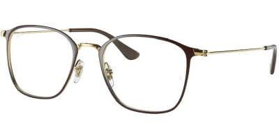 Dioptrické brýle Ray-Ban® model 6466, barva obruby hnědá zlatá lesk, stranice zlatá lesk, kód barevné varianty 2905.