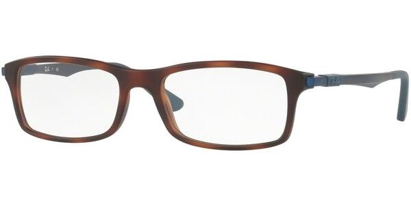Dioptrické brýle Ray-Ban® model 7017, barva obruby hnědá mat, stranice modrá mat, kód barevné varianty 5574.