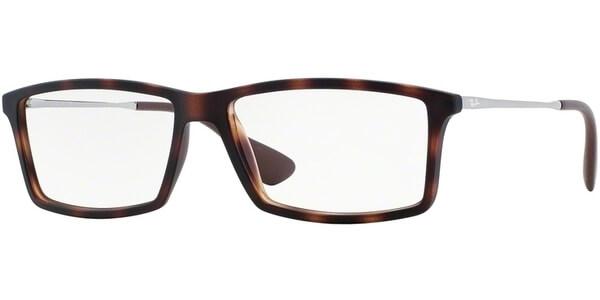 Dioptrické brýle Ray-Ban® model 7021, barva obruby hnědá mat, stranice stříbrná lesk, kód barevné varianty 5365.