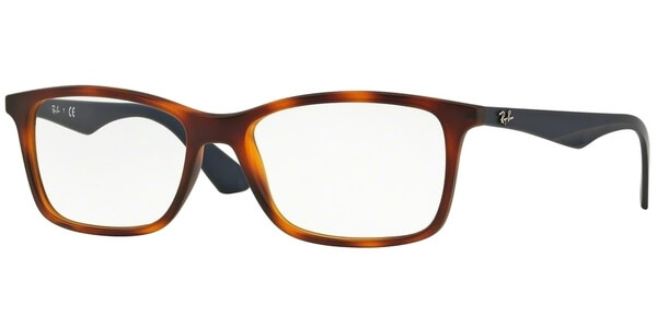 Dioptrické brýle Ray-Ban® model 7047, barva obruby hnědá mat, stranice modrá mat, kód barevné varianty 5574.