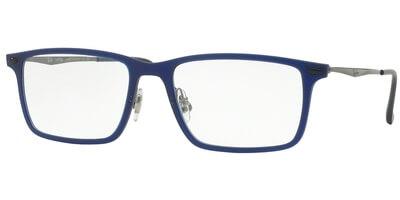 Dioptrické brýle Ray-Ban® model 7050, barva obruby modrá mat, stranice stříbrná lesk, kód barevné varianty 5451.