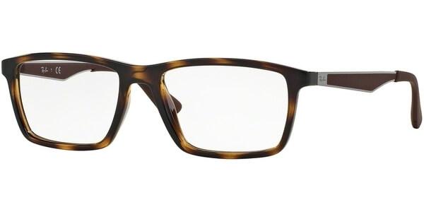 Dioptrické brýle Ray-Ban® model 7056, barva obruby hnědá lesk, stranice hnědá stříbrná mat, kód barevné varianty 2012.