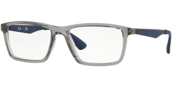 Dioptrické brýle Ray-Ban® model 7056, barva obruby čirá šedá lesk, stranice modrá mat, kód barevné varianty 5814.
