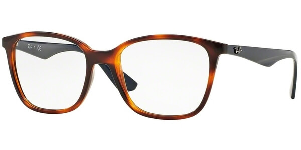 Dioptrické brýle Ray-Ban® model 7066, barva obruby hnědá lesk, stranice modrá lesk, kód barevné varianty 5585.