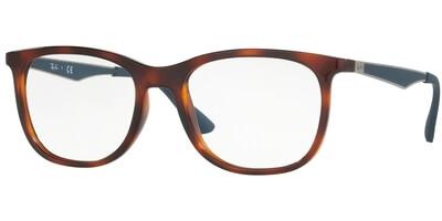 Dioptrické brýle Ray-Ban® model 7078, barva obruby hnědá mat, stranice stříbrná modrá mat, kód barevné varianty 5599.
