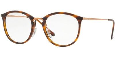 Dioptrické brýle Ray-Ban® model 7140, barva obruby hnědá zlatá lesk, stranice zlatá lesk, kód barevné varianty 5687.