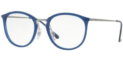 Dioptrické brýle Ray-Ban® model 7140, barva obruby modrá čirá lesk, stranice šedá lesk, kód barevné varianty 5752.