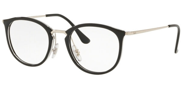 Dioptrické brýle Ray-Ban® model 7140, barva obruby černá stříbrná lesk, stranice stříbrná lesk, kód barevné varianty 5852.