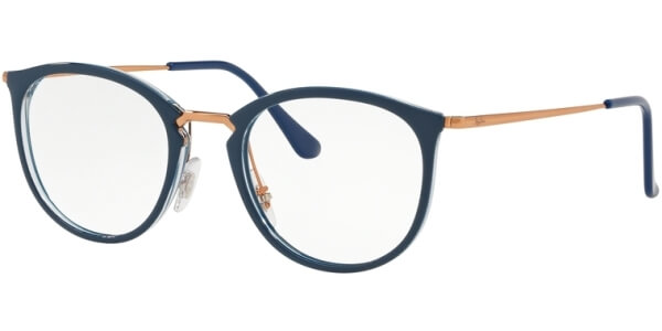 Dioptrické brýle Ray-Ban® model 7140, barva obruby modrá zlatá lesk, stranice zlatá lesk, kód barevné varianty 5853.