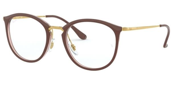 Dioptrické brýle Ray-Ban® model 7140, barva obruby hnědá zlatá lesk, stranice zlatá lesk, kód barevné varianty 5971.