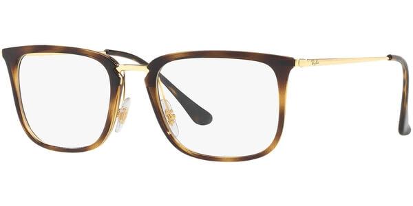 Dioptrické brýle Ray-Ban® model 7141, barva obruby hnědá lesk, stranice zlatá lesk, kód barevné varianty 5754.