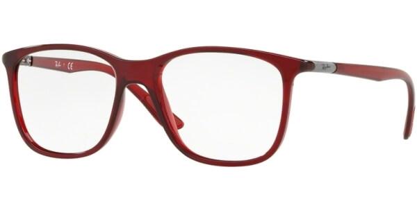 Dioptrické brýle Ray-Ban® model 7143, barva obruby červená čirá lesk, stranice červená čirá lesk, kód barevné varianty 5773.