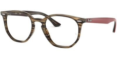 Dioptrické brýle Ray-Ban® model 7151, barva obruby hnědá šedá lesk, stranice červená mat, kód barevné varianty 5802.