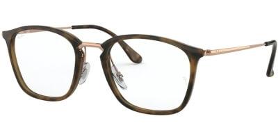 Dioptrické brýle Ray-Ban® model 7164, barva obruby hnědá zlatá lesk, stranice zlatá lesk, kód barevné varianty 5881.