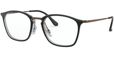 Dioptrické brýle Ray-Ban® model 7164, barva obruby černá čirá lesk, stranice hnědá lesk, kód barevné varianty 5882.