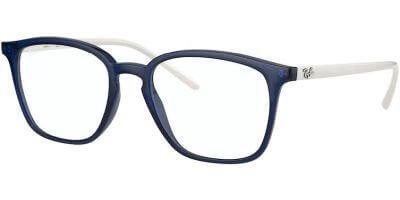 Dioptrické brýle Ray-Ban® model 7185, barva obruby modrá lesk, stranice bílá lesk, kód barevné varianty 8084.