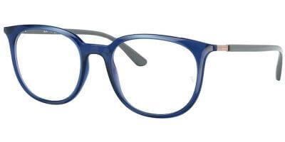 Dioptrické brýle Ray-Ban® model 7190, barva obruby modrá čirá lesk, stranice šedá lesk, kód barevné varianty 8084.