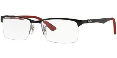 Dioptrické brýle Ray-Ban® model 8411, barva obruby černá lesk, stranice černá červená mat, kód barevné varianty 2509.