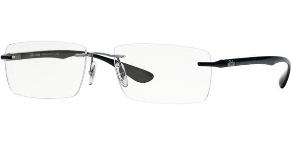 Dioptrické brýle Ray-Ban® model 8724, barva obruby stříbrná lesk, stranice černá lesk, kód barevné varianty 1000.