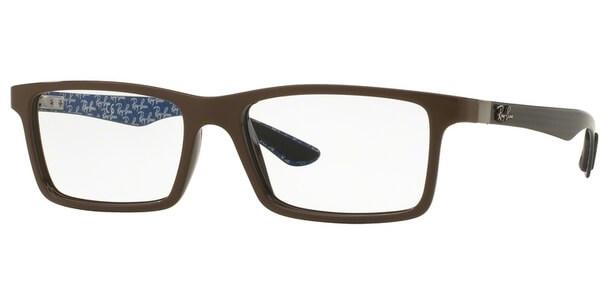 Dioptrické brýle Ray-Ban® model 8901, barva obruby hnědá lesk, stranice šedá modrá mat, kód barevné varianty 5612.