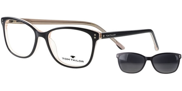 Dioptrické brýle Tom Tailor model 60534, barva obruby černá bílá lesk, stranice černá bílá lesk, kód barevné varianty 100.