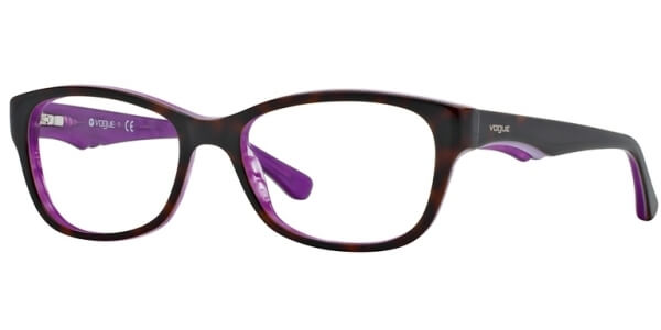 Dioptrické brýle Vogue model 2814, barva obruby hnědá lesk, stranice hnědá fialová lesk, kód barevné varianty 2019.