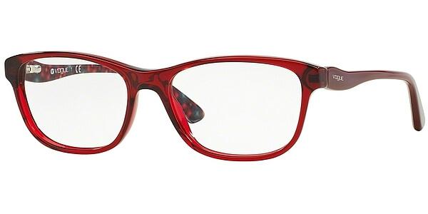 Dioptrické brýle Vogue model 2908, barva obruby červená lesk, stranice červená lesk, kód barevné varianty 2257.