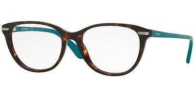 Dioptrické brýle Vogue model 2937, barva obruby hnědá lesk, stranice tyrkysová lesk, kód barevné varianty 2393.