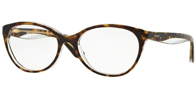 Dioptrické brýle Vogue model 2962, barva obruby hnědá čirá lesk, stranice hnědá čirá lesk, kód barevné varianty 1916.
