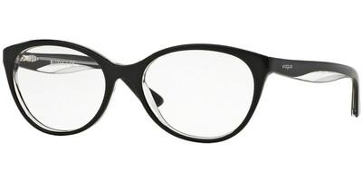 Dioptrické brýle Vogue model 2962, barva obruby černá čirá lesk, stranice černá čirá lesk, kód barevné varianty W827.